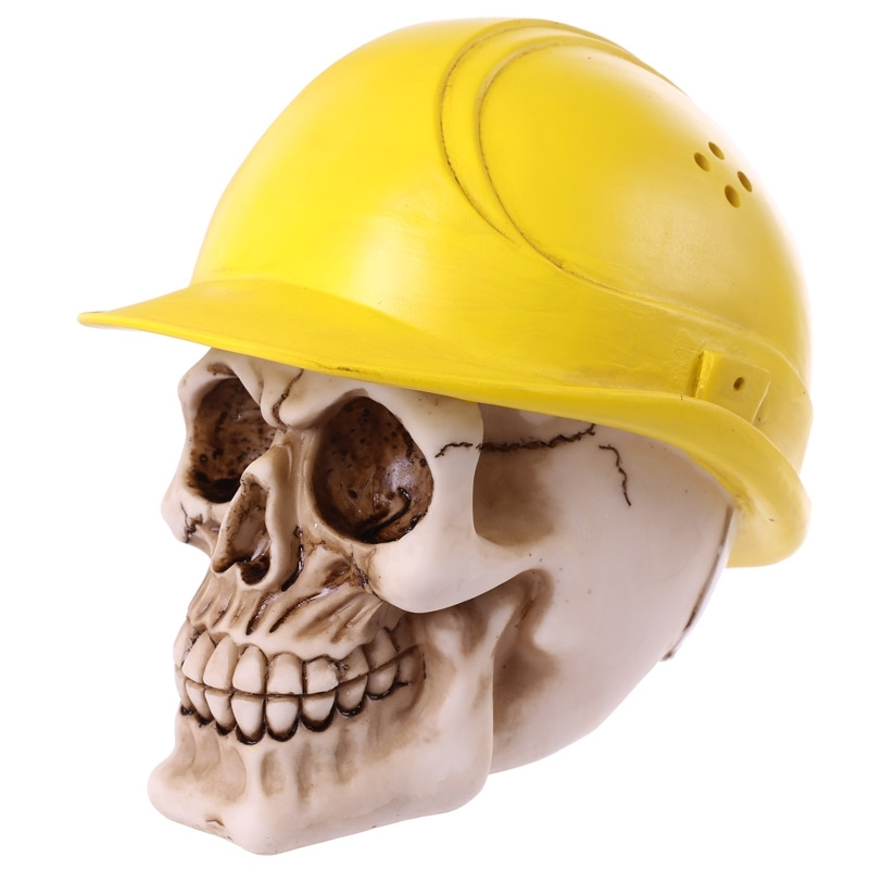 Skull in Yellow Builder's Helmet